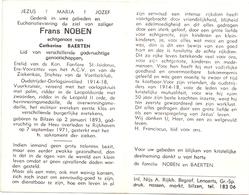 Devotie Doodsprentje Overlijden - Oudstrijder Frans Noben - Bilzen 1893 - Rijkhoven 1971 - Décès
