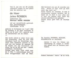 Devotie Doodsprentje Overlijden - Oudstrijder Jules Robben - Kortessem 1884 - Alken 1971 - Décès