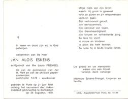 Devotie Doodsprentje Overlijden - Oudstrijder Jan Alois Eskens - Putte 1891 - Bonheiden 1970 - Décès