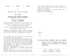 Devotie Doodsprentje Overlijden - Oudstrijder Ferdinand Calle - Destelbergen 1898 - Lanaken 1970 - Décès