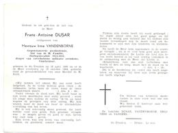 Devotie Doodsprentje Overlijden - Oudstrijder Frans Antoine Dusar - St Truiden 1893 - 1964 - Décès