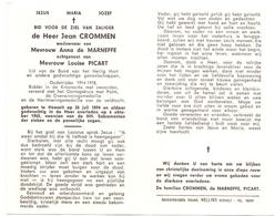 Devotie Doodsprentje Overlijden - Oudstrijder Jean Crommen - Hoeselt 1894 - 1963 - Décès