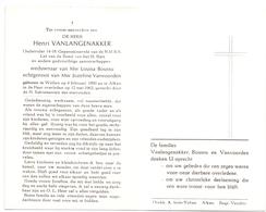 Devotie Doodsprentje Overlijden - Oudstrijder Henri Vanlangenakker - Wellen 1890 - Alken 1962 - Décès