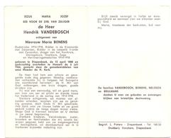 Devotie Doodsprentje Overlijden - Oudstrijder Hendrik Vandebosch - Diepenbeek 1888 - Hoeselt 1964 - Décès
