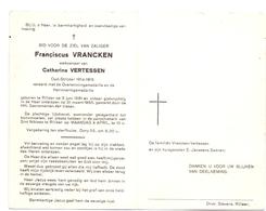 Devotie Doodsprentje Overlijden - Oudstrijder Franciscus Vrancken - Rillaar 1881 - 1966 - Décès