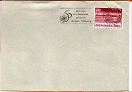 """ONU, Genève, Flamme """"50 Ans De La Déclaration Des Droits De L'homme"""" - Briefe U. Dokumente"""
