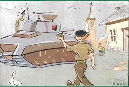 ! - Humour - Militaire Apportant De L'huile Pour Un Char - Dessin De J. Maezelle - Humour