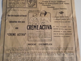Feuillet Publicitaire Creme ACTIVA , Vers 1910/1920 - Pubblicitari
