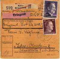 Germany 1944 Dringend Koln Via Idar Oberstein - Lettres & Documents