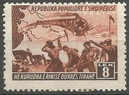 Albania - 1948 Durres-Tirana Railway Construction 8L MLH *   SG 503 Sc 429 - Albania