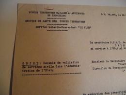 Demande De Validation Service Civil, 1951, Forces Aérienne En Indochine - Documents
