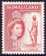 SOMALILAND PROTECTORATE 1958 QEII 10c Salmon SG138a MH - Somaliland (Protectorate ...-1959)