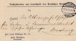 """LAC """"Frei Durch Ablösung Nr 19. / Kais Verkehrs- / Steueramt Obl ALTKIRCH /(OBERELS) Du 17.6.14 Pour Strassburg - Elsass-Lothringen"""