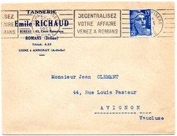 DROME - Dépt N° 26 = ROMANS Sur ISERE 1953 = FLAMME RBV  'decentralisez Votre Affaire Venez' - Oblitérations Mécaniques (flammes)