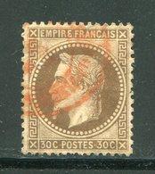 FRANCE- Y&T N°30- Oblitération Rouge (défectueux- Coupé) - 1863-1870 Napoleon III With Laurels