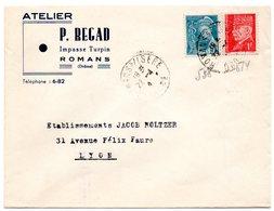 DROME - Dépt N° 26 = ROMANS Sur ISERE 1942 Ca = Cachet  MANUEL A4 + En-tête ATELIER REGAD - Marcophilie (Lettres)