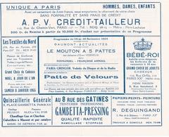 Programme Gaumont Actualité 1954 Fernandel Arnoul Fabia Gringor Mouton A 5 Pattes Radio XX Gambetta Paris - Programmes