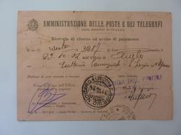 """Cartolina Postale Viaggiata """"RICEVUTA DI RITORNO - JUTIFICI RIUNITI AULLA - ESATTORIA S. GIORGIO  NOGARO"""" 1934 - 1900-44 Vittorio Emanuele III"""