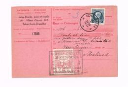 Carte-Récépissé.De Schaerbeek à Malines (aminci).Timbre Fiscal. - Belgique