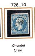 France : Petit Chiffre N° 728 : Chandai  ( Orne ) Indice 10 - Marcophilie (Timbres Détachés)