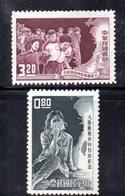 XP4354 - TAIWAN FORMOSA1963 , Yvert Serie 442/443 Senza Gomma . Rifugiati - 1945-... République De Chine