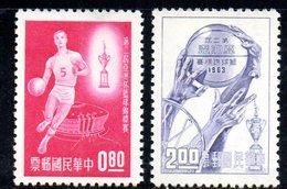 XP4356 - TAIWAN FORMOSA 1963 , Yvert Serie 446/447 Senza Gomma .  Basket - 1945-... République De Chine