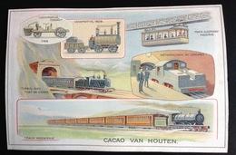 Van Houten Chromo Format CPA Train Métro Voiture Vapeur Cugnot Locomotive Tunnel Pont Pierre - Van Houten