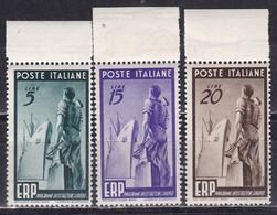 Repubblica Italiana, 1949 - ERP - Nr.601/603 MNH** - 6. 1946-.. Repubblica