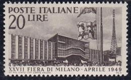 Repubblica Italiana, 1949 - 20 Lire Fiera Di Milano - Nr.598 MNH** - 6. 1946-.. Repubblica