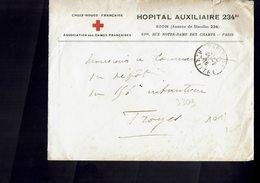 CROIX ROUGE - Lettre De L'Hôpital Auxiliaire 234  à  Paris à Destination De TROYES (Aube) - 1916 - - Croix-Rouge