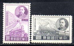 XP4360 - TAIWAN FORMOSA 1961 , Yvert Serie 367/368 Senza Gomma .  Treni - 1945-... Repubblica Di Cina