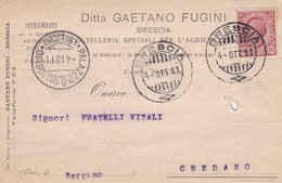 CARTOLINA POSTALE - BRESCIA- DITTA GAETANO FUGINI, COLTELLERIE SPECIALI PER L'AGRICULTURA -VIAGGIATA PER CREDARO (BG) - 1900-44 Vittorio Emanuele III