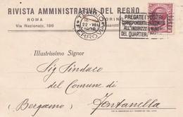 CARTOLINA POSTALE - TORINO - RIVISTA AMMINISTRATIVA DEL REGNO -VIAGGIATA PER FONTANELLA (BG) - 1900-44 Vittorio Emanuele III