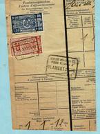 Spoorwegfragment, Afst. VLAMERTINGE 31/12/1941 + Stempel VLAMERTINGHE GEWICHT BEVONDEN - Railway