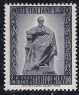 Repubblica Italiana,1949 - 20 Lire Giuseppe Mazzini - Nr.604 MNH** - 6. 1946-.. Repubblica