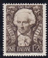 Repubblica Italiana, 1949  - 20 Lire Vittorio Alfieri - Nr.605  MNH** - 6. 1946-.. Repubblica