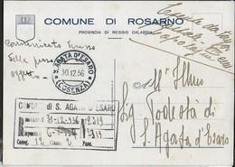 STORIA POSTALE REGNO - CARTOLINA ESENTE DA ROSARNO 30.12.1936 PER S.AGATA D'ESARO - 1900-44 Vittorio Emanuele III
