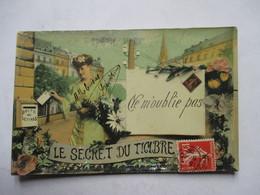 LE SECRET DU TIMBRE   -  JEUNE FEMME POSTANT ......   NE M' OUBLIE PAS             TTB - Timbres (représentations)