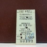 Ticket * Portugal * CP * Guimarães * Inteiro * 2ª Classe - Railway