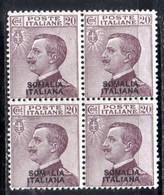 XP4365 - SOMALIA 1926 , 20 Cent Violetto Bruno N. 95  ***  MNH. Splendida Quartina - Somalia