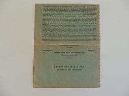 Permis De Circulation De Transport De Personnes. - Transportation Tickets