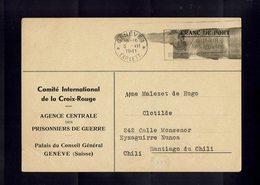 CROIX ROUGE - Lettre Du C.I.C.R.  GENEVE à Destination De SANTIAGO Du CHILI - 1941 - - Croix-Rouge