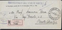 STORIA POSTALE REPUBBLICA - RACCOMANDATA IN ESENZIONE DA VARESE SUCC. 2/VARESE - 25.07.1955 - ANNULLO CONALBI - 6. 1946-.. Repubblica