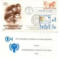 Etats Unis 1979 IYC AIE FDC Artmaster   + ONU  New York Coin De Feuille - Enfance & Jeunesse