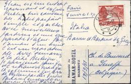 Glion Dents Du Midi Et Grammont CAD II IX 51 Etiquette De Réexpédition Du Miramar Hotel à Biarritz 17 9 51 - Covers & Documents