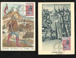 2 Cartes Maximum Premier Jour Vienne Le 17/03/1962 Type 1 Et 2 N° 1332 Journée Du Timbre Messager Royal TB Soldé ! ! ! - Cartes-Maximum