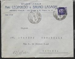 STORIA POSTALE REGNO - ANNULLO DC REGGIO-EMILIA/ARRIVI E PARTENZE 17.07.1937 SU BUSTA INTESTATA - 1900-44 Vittorio Emanuele III