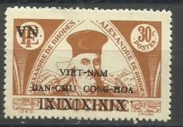Vietnam - 1946 Alexander Of Rhodes Overprint 30c Unused No Gum (as Issued)   Sc 1L3a - Vietnam