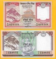Nepal SET 5 & 10 Rupees P-76 & P-77 2017 UNC Banknotes - Népal