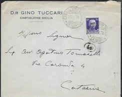 STORIA POSTALE REGNO - ANNULLO DCLR CASTIGLIONE SICILIA/CATANIA 20.11.1936 SU BUSTA INTESTATA PER CATANIA - 1900-44 Vittorio Emanuele III